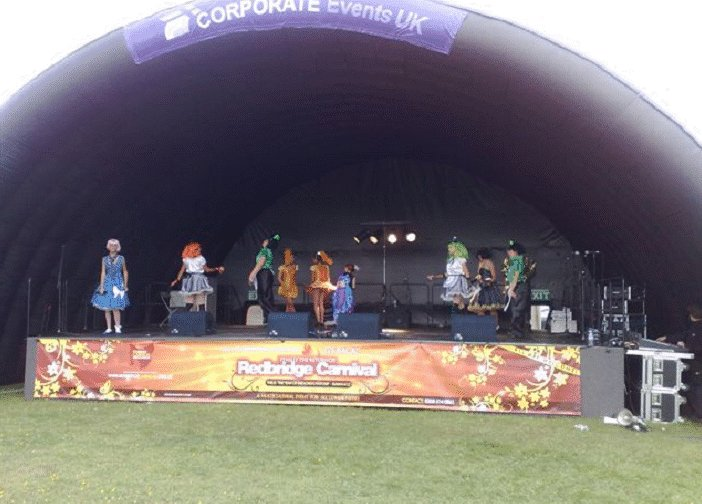 Outside Inflatable stage hire